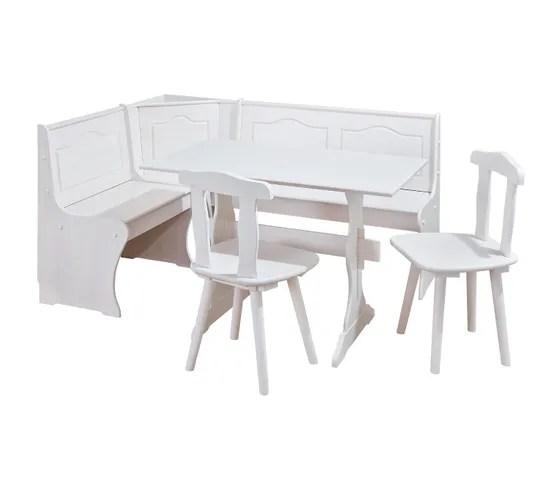 Ensemble Repas Table Banc D Angle 2 Chaises Donau Pin Massif Vernis Blanc Ensemble Table Et Chaises But
