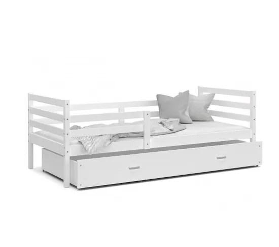 lit enfant milo 90x190 blanc blanc livre avec sommier tiroir et matelas de 7cm offert