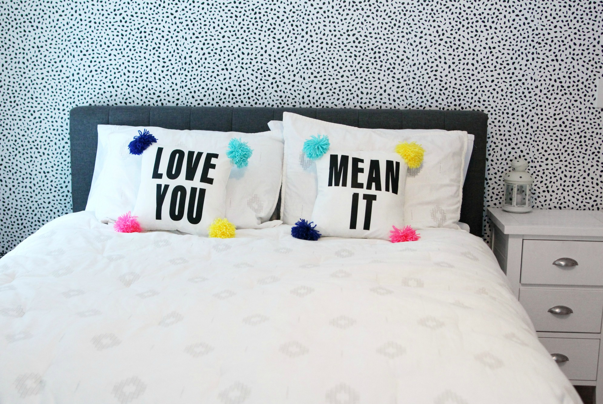 DIY Love Your Pom Pom Pillow with Text | No-Sew Pillowcase