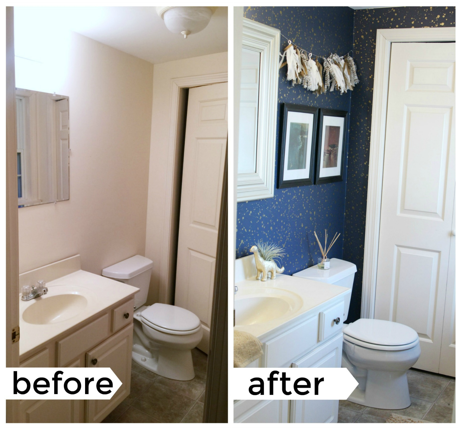 today im going to share how i redid our downstairs guest bathroom in our rental space giving you tips for your rental space or forever home along the - Bathroom Decorating Ideas For Renters