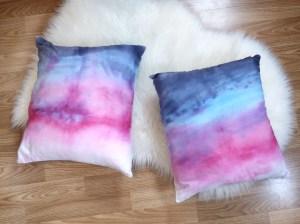DIY Watercolor Ombre Throw Pillows