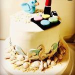twitter kuşu ve makyaş malzemeli pasta