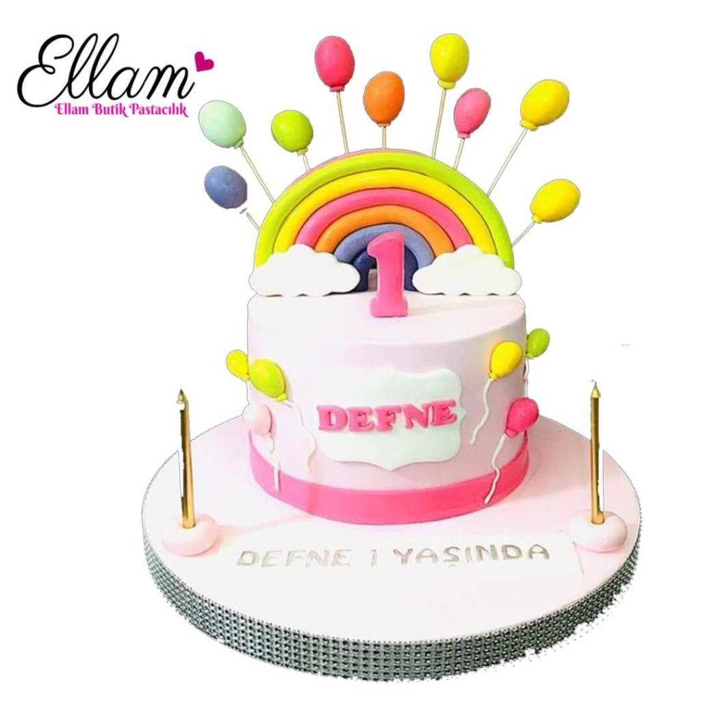 1 yaş temalı butik pasta