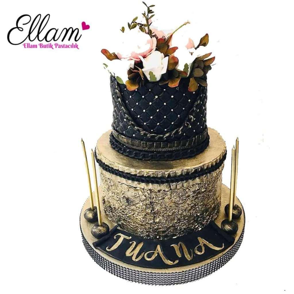 gold çiçek dokulu butik pasta