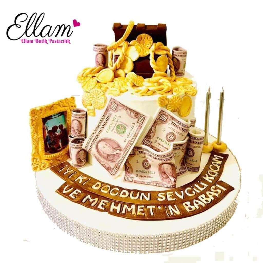 altın pasta zenginlik pastası