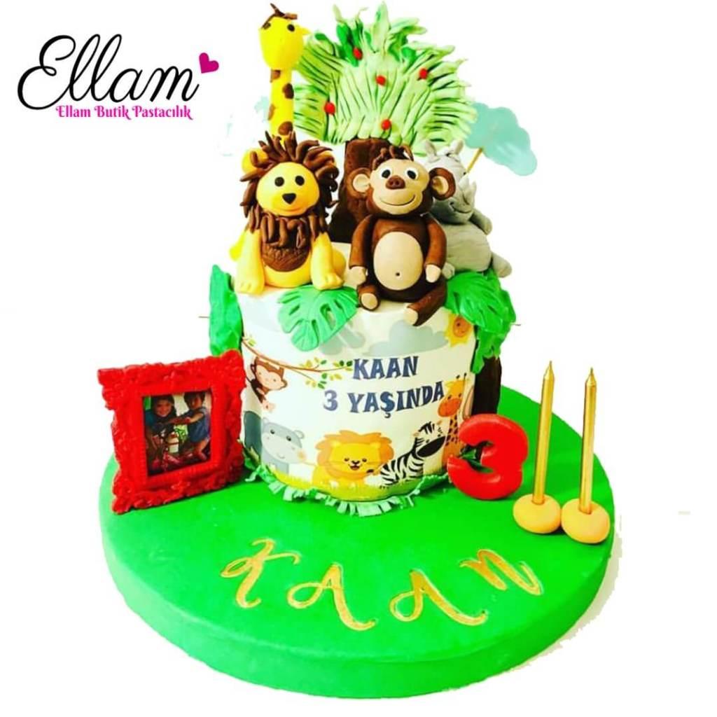 safari temalı butik pasta