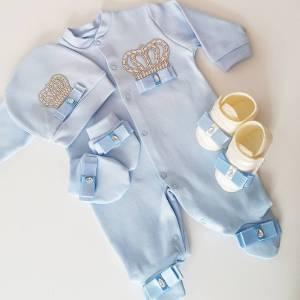 bebek tulumlari 2 - Taş Süslemeli Yenidoğan Patikli Hastane Çıkış Seti 0-1 Ay