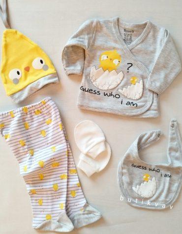 erkek bebek lohusa terlik tac seti kral taci suslemeli 01 scaled - Miniworld Sarı Civciv 5'li Hastane Çıkış Seti