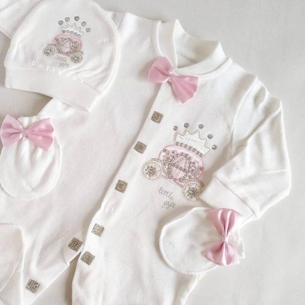 sevimli ayicik suslemeli yenidogan hastane cikisi 0 1 ay 02 scaled - Kız Bebek Balkabağı Taş Süslemeli Hastane Çıkışı Tulum Seti