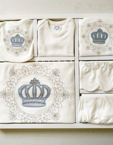 """Erkek Bebek Prens Taç Süslemeli 10lu Hastane Çıkışı 03 scaled - """"Halam beni seviyor"""" Bebek Önlüğü - Mavi"""