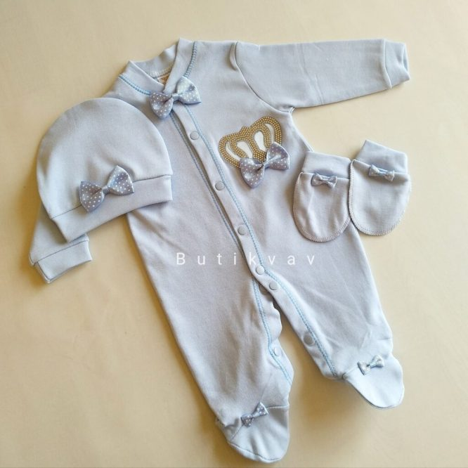 Erkek Bebek Kral Taç Süslemeli Hastane Çıkış Seti 03 scaled - Erkek Bebek Kral Taç Süslemeli Hastane Çıkışı 1-3 ay
