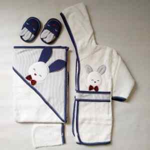 Gaye Bebe Erkek Bebek Tavşanlı Bornoz Seti mavi Kopya 01 - Gaye Bebe Erkek Bebek Tavşanlı Bornoz Seti - Lacivert