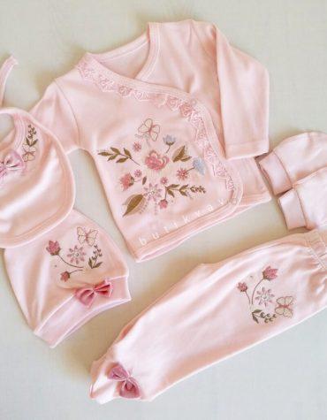 Kız Bebek Çiçek Nakışlı 5li Hastane Çıkışıpembe 0 3 Ay 01 scaled - Kız Bebek Çiçek Nakışlı 5'li Hastane Çıkışı/pembe 0-3 Ay