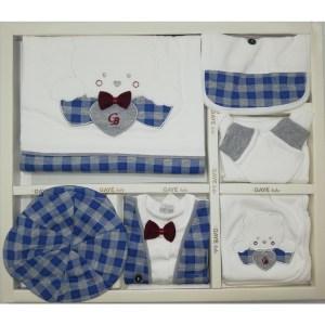Gaye Bebe Erkek Bebek Papyonlu Ayı 10lu Hastane Çıkışı Bordo 01 - Gaye Bebe Erkek Bebek Papyonlu Ayı 10'lu Hastane Çıkışı - Mavi