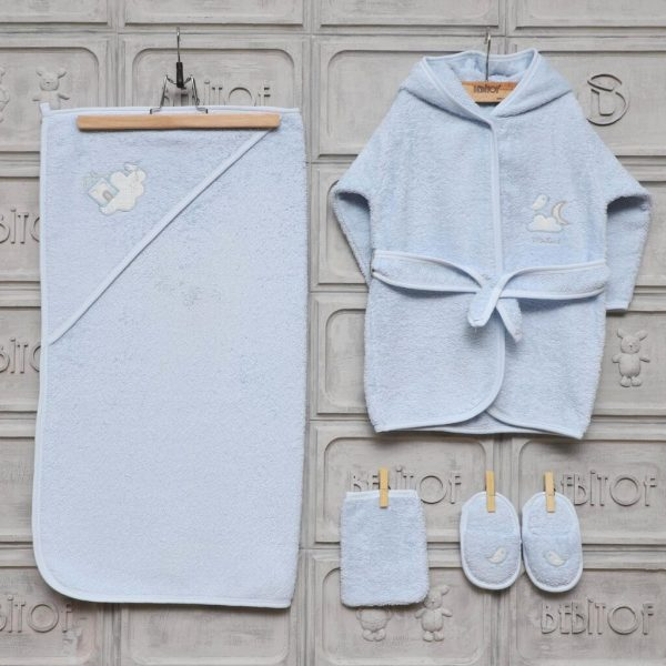 bebitof erkek bebek ayicik nakisli bornoz seti mavi 01 scaled - Bebitof Minilamb Mini Ev Bornoz Seti - Mavi