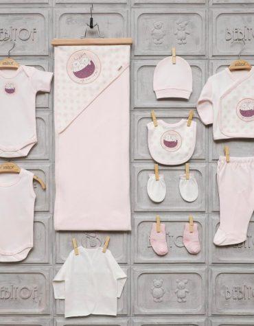 bebitof kiz bebek bebek arabasi islemeli 10 lu hastane cikisi pembe 02 scaled - Bebitof Kız Bebek Puantiyeli Ayıcık 10'lu Hastane Çıkışı - Pembe