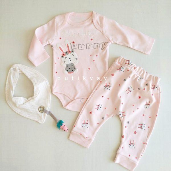 0 3 ay kiz bebek unicorn tutu etek takim 3 lu set kopya 01 scaled - 0-3 Ay Kız Bebek Sweet Bunny 3'lü Takım