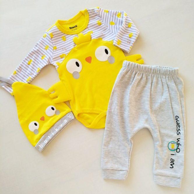 9 12 ay erkek bebek alt ust fular takim 3 lu set 01 scaled - Miniworld Unisex Sarı Civciv 3'lü Takım 3-6ay