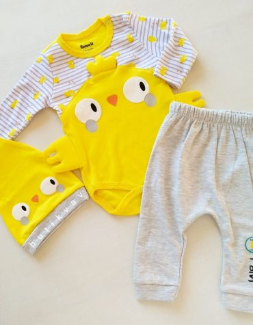 9 12 ay erkek bebek alt ust fular takim 3 lu set 01 scaled - Miniworld Sarı Civciv Unisex 3'lü Takım 6-9 ay