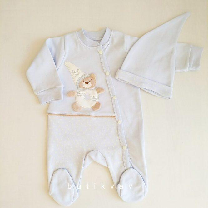 erkek bebek ayicik motifli tulum sapka seti 0 3 ay 01 scaled - Erkek Bebek Ayıcık Motifli Tulum & Şapka Seti 0-3 Ay