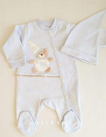 erkek bebek ayicik motifli tulum sapka seti 0 3 ay 01 scaled - Erkek Bebek Ayıcık Motifli Tulum & Şapka Seti 6 Ay