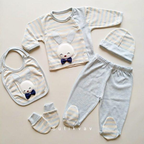 gaye bebe erkek bebek tavsan suslemeli 5 li hastane cikisi gri kopya 01 scaled - Gaye Bebe Erkek Bebek Tavşan Süslemeli 5'li Hastane Çıkışı - Mavi