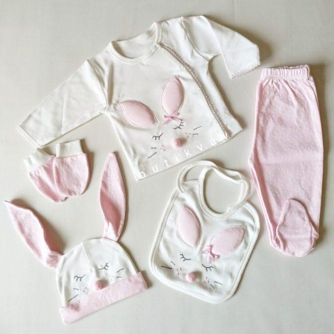 gaye bebe kiz bebek tavsan kulak 5 li hastane cikisi pembe 01 scaled - Gaye Bebe Kız Bebek Tavşan Kulak 5'li Hastane Çıkışı - Pembe