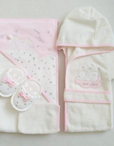 gaye bebe kiz bebek uykucu kedi bornoz seti 02 scaled - Gaye Bebe Kız Bebek Uykucu Ayıcık Bornoz Seti
