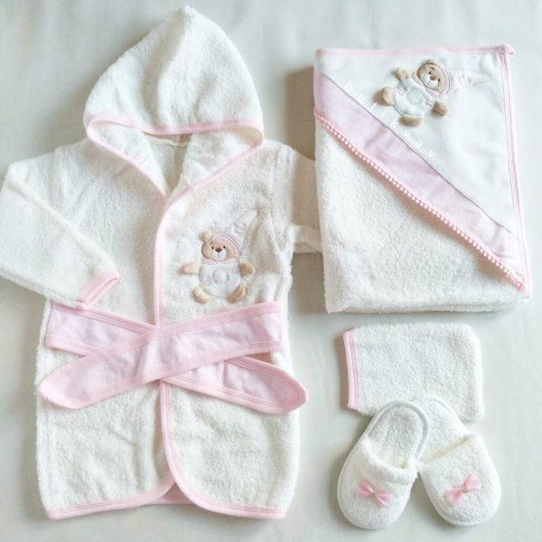 gaye bebe kiz bebek uykucu kedi bornoz seti 03 scaled - Kız Bebek Ayıcık Motifli Bornoz Seti Pembe