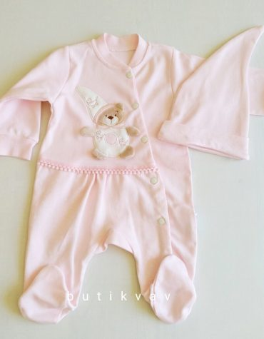 kiz bebek ayicik motifli tulum sapka seti 3 6 ay 03 scaled - Kız Bebek Ayıcık Motifli Tulum & Şapka Seti 3-6 Ay