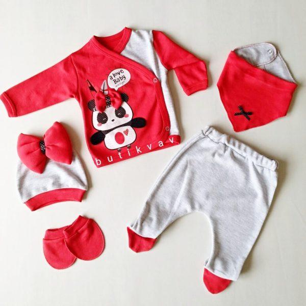 minizeyn kiz bebek fiyonklu panda 5 li hastane cikisi kirmizi 01 scaled - Minizeyn Kız Bebek Fiyonklu Panda 5'li Hastane Çıkışı - Kırmızı