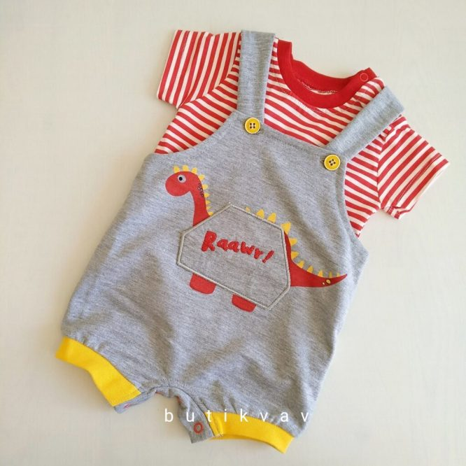 erkek bebek dino t shirt tulum seti 3 6 ay 01 scaled - Erkek Bebek Dino T-shirt Tulum Seti 3-6 Ay