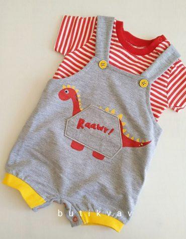 erkek bebek dino t shirt tulum seti 3 6 ay 01 scaled - Erkek Bebek Dino T-shirt Tulum Seti 6-9 Ay