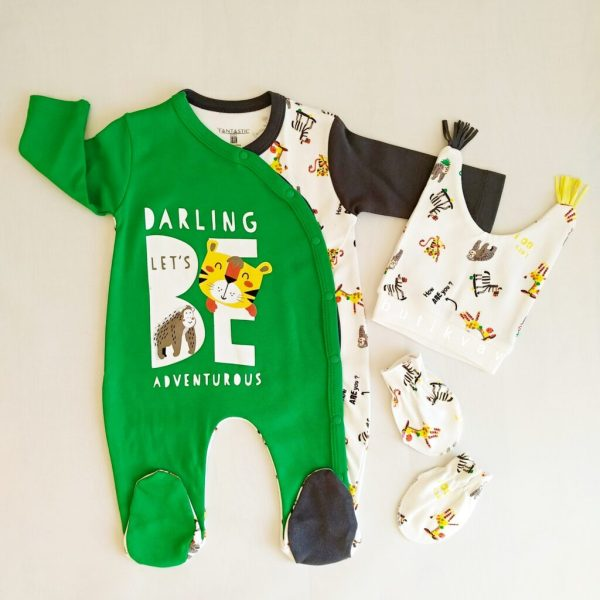 erkek bebek mutlu orman tulum seti 3 6ay 01 scaled - Erkek Bebek Mutlu Orman 3'lü Tulum Seti 3-6Ay