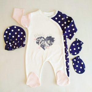kiz bebek puskullu 3 lu tulum seti 0 3 ay kopya 01 scaled - Kız Bebek Puantiyeli 3'lü Tulum Seti 0-3 Ay