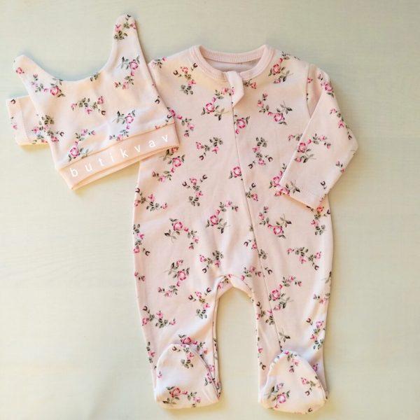 kiz bebek cicek desenli fermuarli tulum seti 3 6 ay 01 scaled - Kız Bebek Çiçek Desenli Fermuarlı Tulum Seti 0-3 Ay