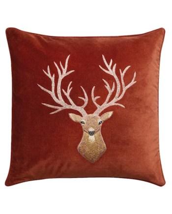 Chhatwal & Jonsson Kuddfodral Reindeer Sammet Rust 50x50 cm