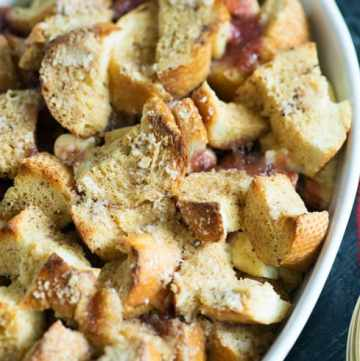 A dish of baked strawberry French toast
