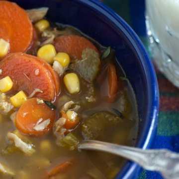 A bowl of Zesty Chicken Soup