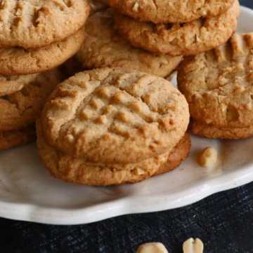 A platter of Peppery Peanut Butter Cookies