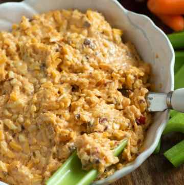 Smokey Pimento Cheese in a bowl with celery