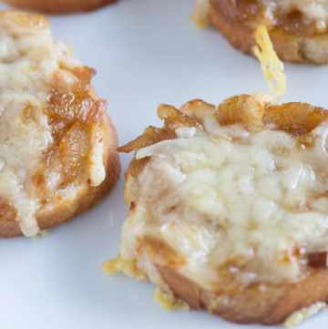 A close up of French Onion Rounds
