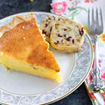 A slice of Lemon Chess Pie with a cookie