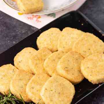 A platter of orange rosemary shortbread cookies