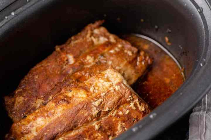 Baby back ribs in a slow cooker