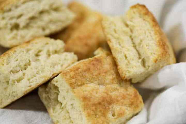 A bread basket with square biscuits