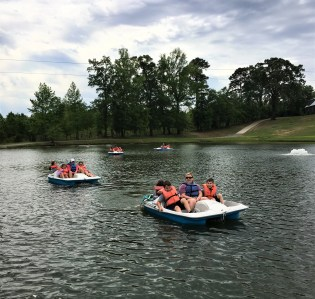 pedal boating in the lake at Butter and Egg Adventures