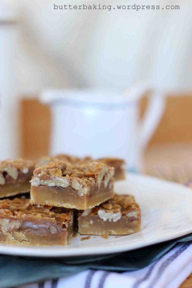 Caramel Pecan Shortbread Pie Bars | Butter Baking