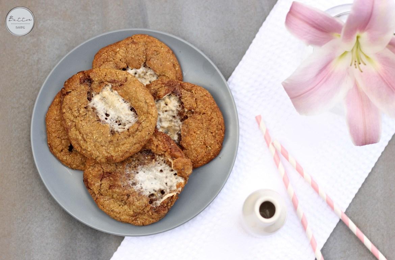 Marshmallow stuffed chocolate truffle chunk cookies | Butter Baking