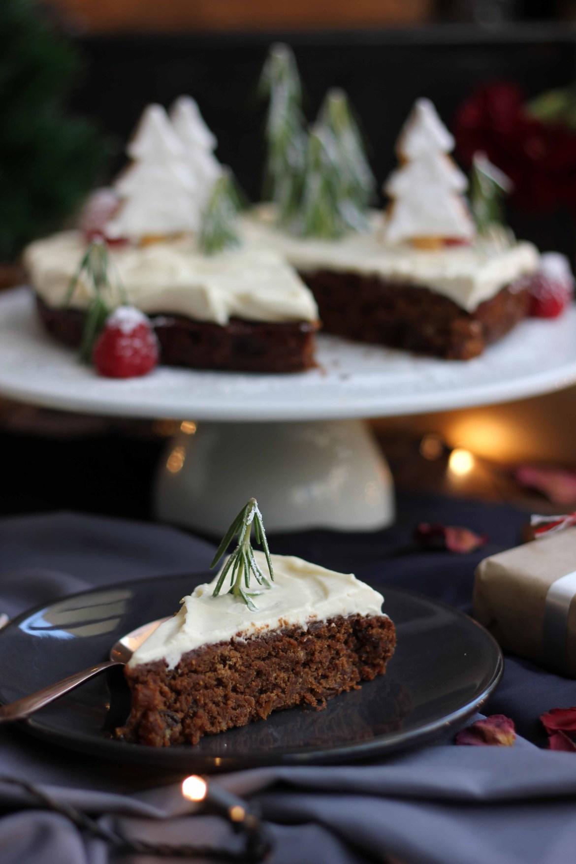 Christmas Cake With Eggnog Cream And Christmas Shortbreads